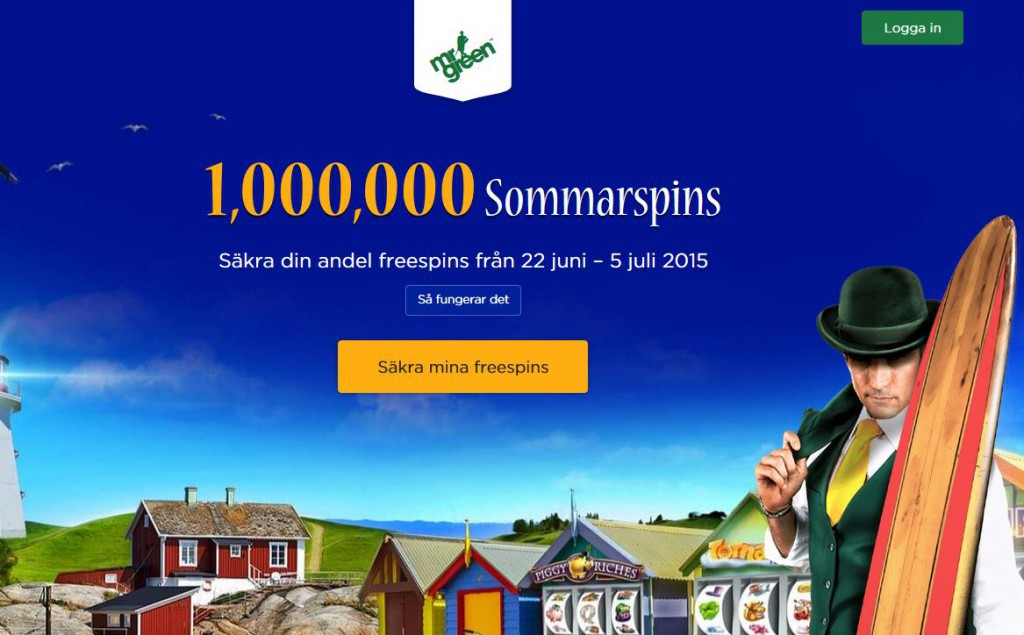 1 miljon free spins hos Mr Green