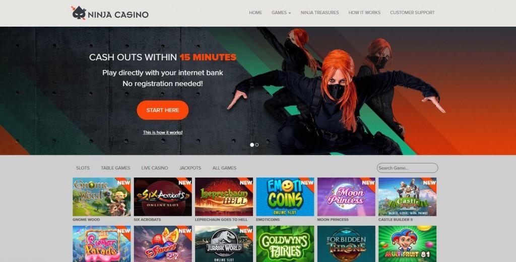 Ninja casino startsida