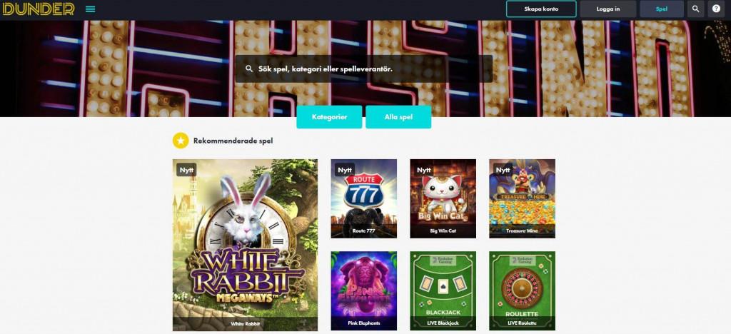 Dunder Casino startsida casinospel